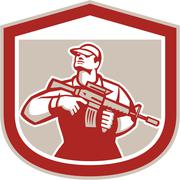 Soldier military serviceman holding assault rifle crest retro Stock Illustration