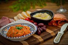 Catering platter with antipasti and fingerfood Stock Photos