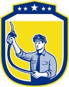 gas jockey gasoline attendant shield - stock illustration
