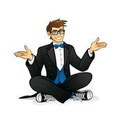 executive geek sitting - stock illustration