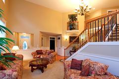 Luxury house interior. living room Stock Photos