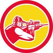 Stock Illustration of shooter aiming telescope rifle circle retro