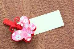 hairpins pattern of pink butterfly. - stock photo