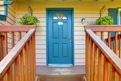 Stock Photo of entrance porch with blue door
