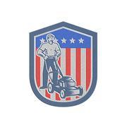 metallic gardener mowing lawn mower flag retro - stock illustration