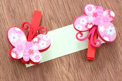 Hairpins pattern of pink butterfly. Stock Photos