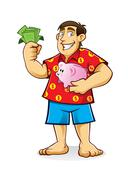 fat man with piggy bank - stock illustration