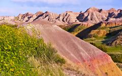 badlands buttes - badlands national park, south dakota, usa. sandy buttes for - stock photo