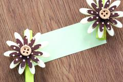 Hairpins of brown pattern and note paper. Stock Photos