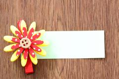 Hairpins of red mix yellow pattern and note paper. Stock Photos