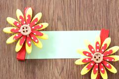 hairpins of red mix yellow pattern and note paper. - stock photo
