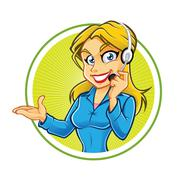 receptionist girl - stock illustration