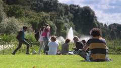 St James Park Lake and Fountain with a Man on the Phone Stock Footage