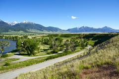 pray, montana near livingstone - yellowstone river valley and gallatin nation - stock photo