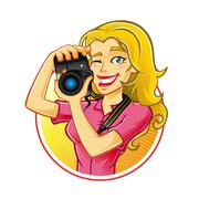 woman photographer - stock illustration