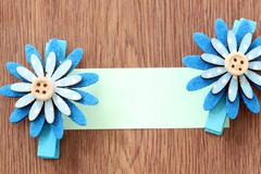 hairpins of blue flower pattern and note paper. - stock photo