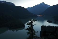diablo lake at dusk - diablo lake in north cascades national park, washington - stock photo