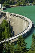 diablo dam at diablo lake - north cascades national park, state of washington - stock photo