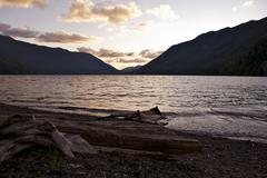 lake crescent sunset - olympic peninsula, washington, u.s.a. washington state - stock photo