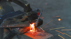 Cutting steel using gas. Stock Footage