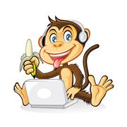 Monkey laptop Stock Illustration