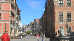 Fountain of Neptune in the old town of Gdansk, Poland. 4 Stock Footage