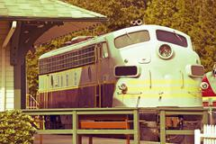 Vintage train engine in vintage colors. british columbia railroad. train stat Stock Photos