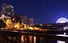 Seattle waterfront - alaskan way. seattle washington at night - urban theme. Stock Photos