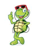 Turtle with earphone Stock Illustration