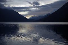 Stock Photo of lake scenery after sunset. lake crescent, washington, usa. nature photography