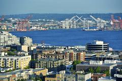 Seattle harbor - seattle panorama. washington state photography collection. Stock Photos