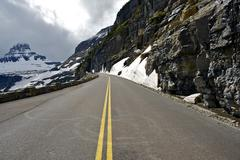 scenic mountains road - glacier national park, montana, usa. famous scenic ro - stock photo