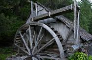 Stock Photo of old wooden powerhouse in washington state, usa. historical place