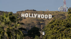 Hollywood Sign straigt on with Palm Trees waving in the wind Stock Footage