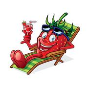 berry on beach chair - stock illustration