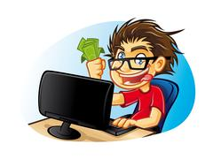 crazy geek - stock illustration