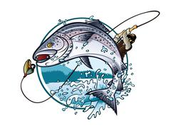 fishing salmon - stock illustration