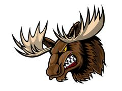 Angry moose head Stock Illustration
