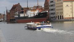 Gdansk, Poland. Passenger ship on Motlawa river Stock Footage