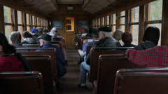 Vintage passenger car inside steam train railroad HD 177 Stock Footage