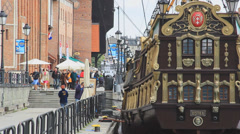 Gdansk, Poland. Galleon ship on Motlwa river 2 Stock Footage