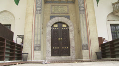 Entrance to the Gazi Husrev Beg mosque Stock Footage