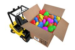 Loader with box full hearts of different colours Stock Illustration
