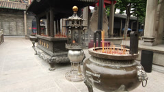 Incense burner in foshan zumiao temple Stock Footage