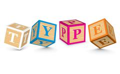 Word type written with alphabet blocks Stock Illustration
