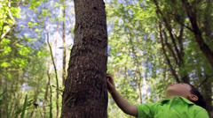 Little Asian Boy Touches Tree, Then Looks Up In Wonder At How Tall It Is - stock footage