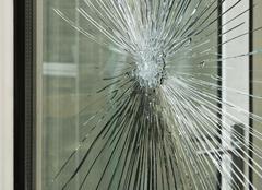 Smashed glass window pane Stock Photos