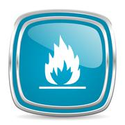 Flame blue glossy icon Stock Illustration