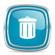 Recycle blue glossy icon Stock Illustration