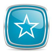 star blue glossy icon - stock illustration